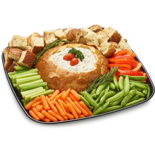 48 hour Prep Time Required for Party Platters. Limit 10 Per Order. For A Healthier Option choose our Spinach Dip Tray with Half Bread Pieces and half cut Fresh Assorted Vegetables.
