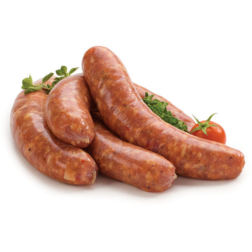 Fresh from our in store service case. Estimate 120g per sausage.