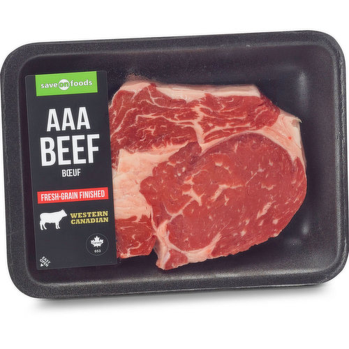 AAA Beef. Grain Fed. Western Canadian. Average Weight of Each Pack may Vary.