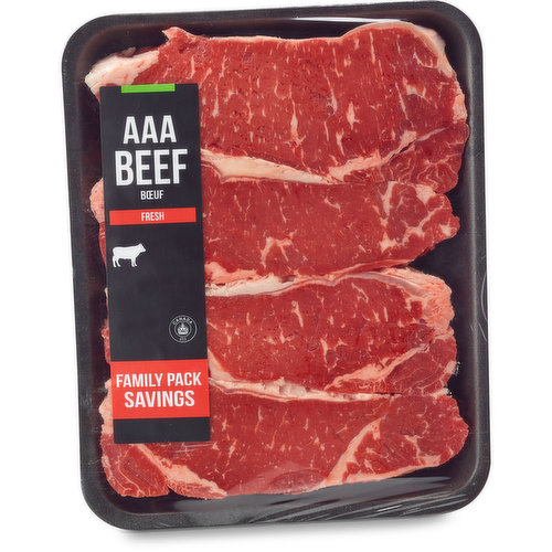 AAA Beef. Grain Fed. Aged Min. 14 Days. Average Weight of Each Package May Vary. Approx 3 Steaks per Package.