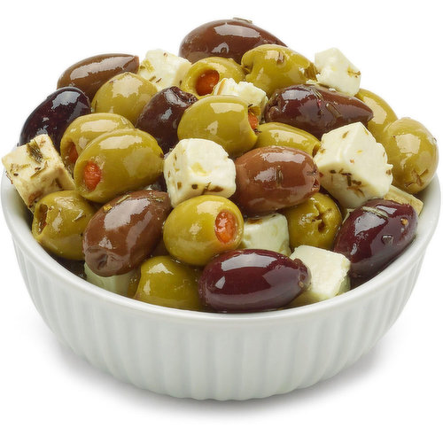 Feta marinates in the flavours of Olives and Herbs in Canola Oil. Adding Feta in Oil with Olives & Herbs to a Salad instantly puts a zing to you ordinary Greek Salad. Average weight per container: Small- 250g, Medium- 400g, Large- 625g.