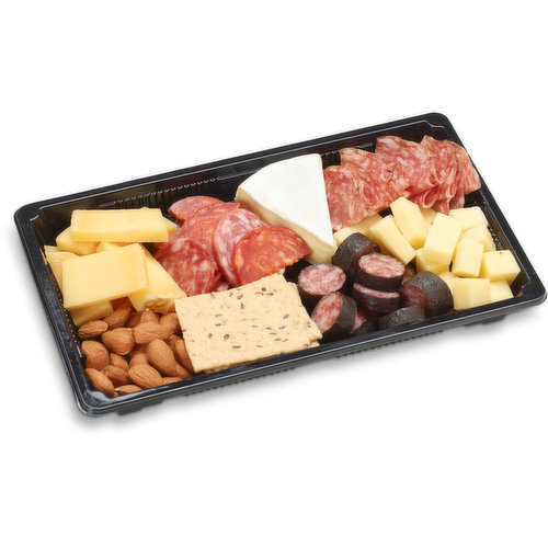 48 hour prep time required for party platters. Limit 10 per order. Salami w/Prosciutto, thinly sliced, Riserva Mastro Salami, sliced, Medium Gouda Slices, Brie Wedge, Cheese, Semi soft, cheddar cubed, Almonds and Swiss Farmer Sausage.