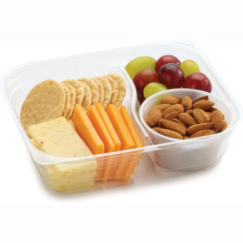 Hearty and Wholesome Combinations of Protein Packed and Freshly Made in Store. Rice Crackers, Havarti & Cheddar Cheese Slices, Raw Almonds, and Grapes.