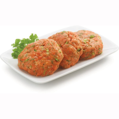 Wild Sockeye Burgers. Each Package Contains 2 Patties. Average Weight may Vary by Size.