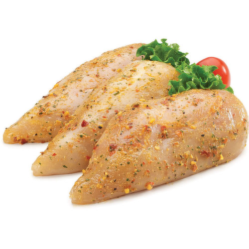Chicken breast raised without antibiotics marinated in a tangy ginger chili lime. Average weight approx 250g each.