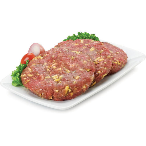 Bacon Cheddar Beef Patties. Average weight per package, 170 Gram