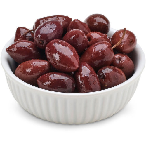 Kalamata olives, water, red wine vinegar, sea salt, sunflower oil, grape must. Product of Greece. Packaged Fresh. Choose from Average Weight per Container: Small - 250g, Med - 400g, Large - 625g.