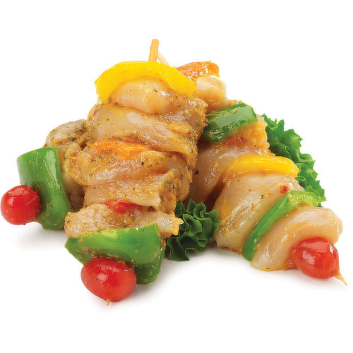 Chicken breast kabobs raised without antibiotics and marinated with soulvaki. Average weight approx 200g each.