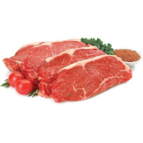 Fresh Striploin Steak.  Average weight of steak may vary. Average 3-4 pieces.