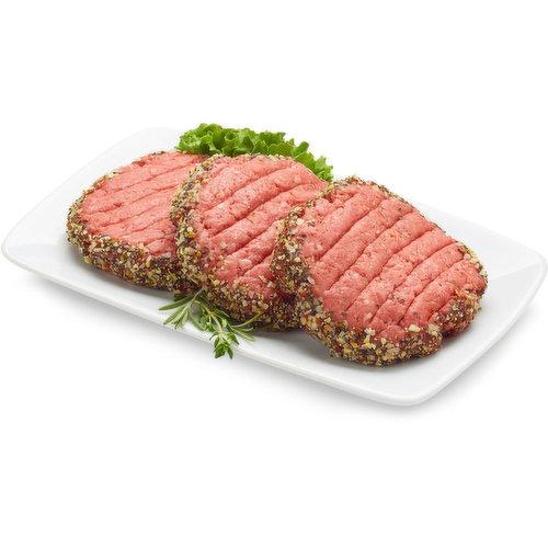 Peppered Beef Patties. Average weight per package, 170 Gram