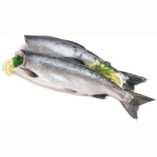 Wild West Coast, Frozen. Ocean Wise Recommended. Average Weight of Each Salmon Varies.