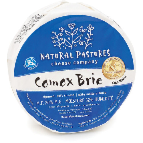 This famousComox Brieexemplifies the traditional, gentle flavour of a superb, bloomy rindcheese. Slight buttery taste and a delightful, creamy texture.