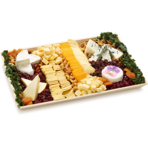 48 hour Prep Time Required for Party Platters. Notre Dame Brie, Havarti, Swiss, Blue, Cheddar, Monterey Jack, Goat Cheese, Provolone, Port Salut, Smoked Gouda served with assorted nuts and Cranberry.