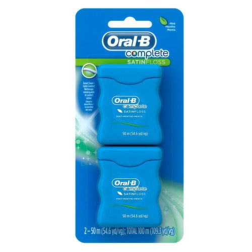 Oral-B complete Satin floss has a satin like texture for comfortable flossing that releases a burst of mint freshness. Helps remove plaque and food particles between your teeth. 2x50m