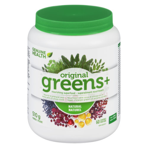 Powder.  Non GMO. Genuine Health Greens+ is a highly alkaline-forming and rich in antioxidants greens+ nourishes and protects your body, increases energy, promotes healthier bones and much more.