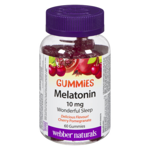 Cherry pomegranate flavor. Improves sleep quality so you can wake up feeling refreshed. Free of gelatin, gluten, dairy & non-animal-source melatonin. Suitable for vegetarians & vegans. 60 gummies.