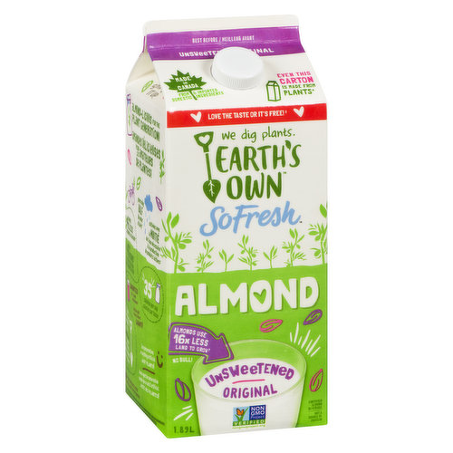 Refrigerated, Good Source of Vitamin E, Calcium and Vitamin D. Made with Real Almonds. 35 Calories per Serving, No Sugar Added
