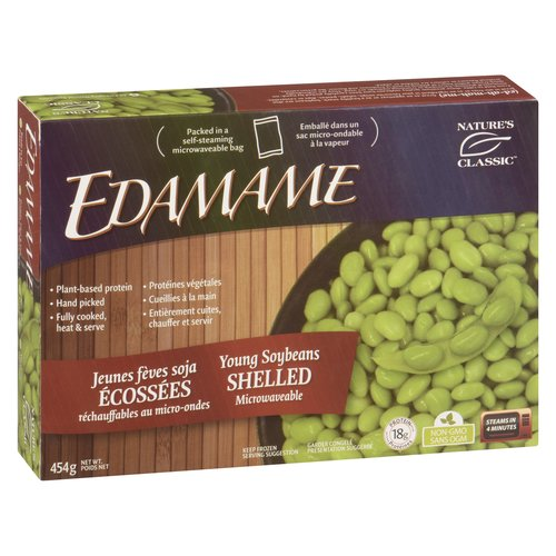 Frozen All Natural Soybeans. Hand Picked Fully Cooked, Ready to Eat Young Soybeans Shelled. Microwaveable.
