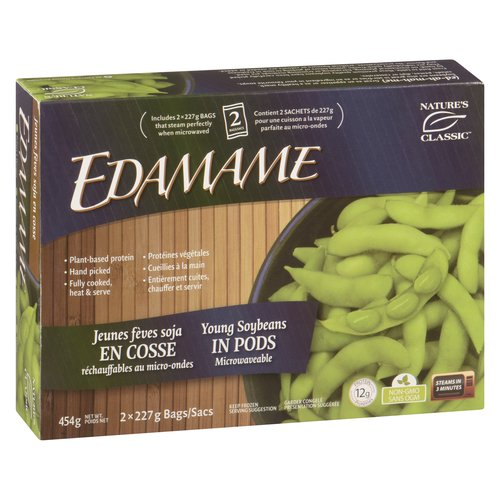 Frozen All Natural Soybeans. Hand Picked Fully Cooked, Ready to Eat Young Soybeans in Pods. Microwaveable.