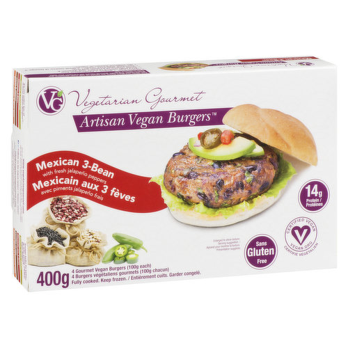 With fresh jalapeno peppers. 14g of protein per burger. Gluten free and vegan. Fully cooked, keep frozen. 4X100g burgers= 400g