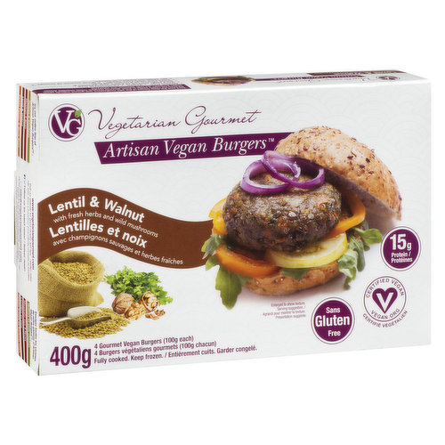 With fresh herbs and wild mushrooms. 15g of protein per burger. Gluten free and vegan. Fully cooked, keep frozen. 4X100g burgers= 400g