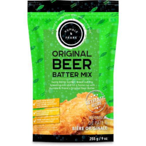 Swing batter batter! Break out this breading mix and hit a home run. Authentic recipe. Free from artificial flavours & colours. Free from preservatives. Free from MSG & Trans Fat.From our seafood dept