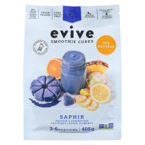 Super refreshing with an eye-catching natural blue hue provided by the spirulina superfood, Saphir is the official tasty summer smoothie with its flavours reminiscent of candy & lemonade. With Saphir at your fingertips, you'll earn points from the who