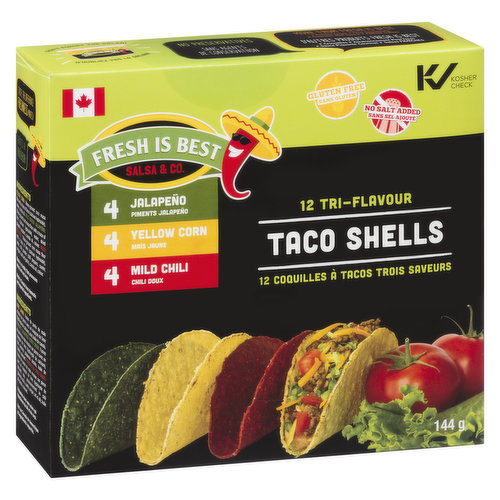 12 Flavours Taco Shells: 4 Jalapeno, 4 Yellow Corn, 4 Mild Chili.