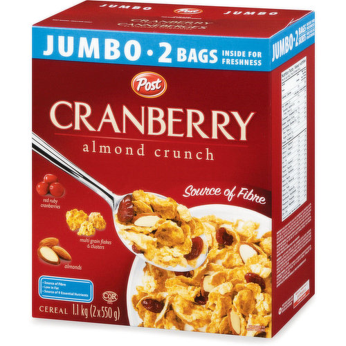 Jumbo 2 Bags, Source of Fibre with Red Ruby Cranberries, Almonds & Multi Grain Flakes.