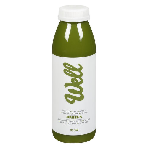 Green Apple, Kale, Spinach, Celery, Lemon & Ginger. Full of antioxidants, vitamins, minerals, energy rich B Vitamins and phytonutrients.