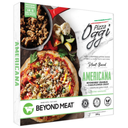 Hand tossed & stone baked. Made with Beyond beef & roasted vegetables. All ingredients are plant-based. Gluten free, non-GMO & vegan. Keep frozen.