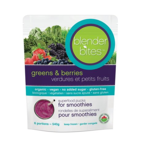 Superfood pucks for your smoothie. Made with whole food organic vitamins. Each puck is a source of 60%+ recommended intake of 12 essential nutrients for good health and vitality. 6 servings per bag. Non-gmo, vegan, gluten free and organic and no sugar added.