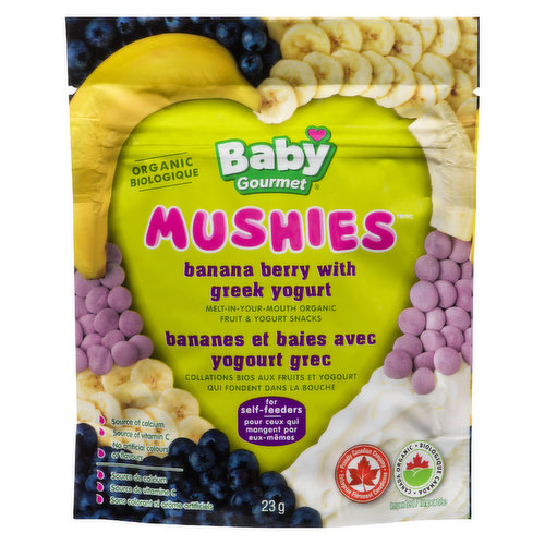 A combination of bananas, berries and yogurt is freeze dried to make a tasty, melt in your mouth snack for self feeding babies.