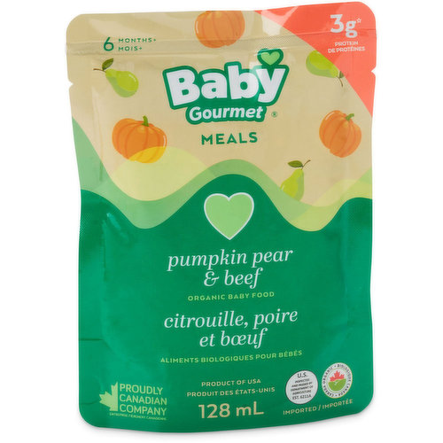 Rich Pumpkin, Fibrous Sweet Apples and Pears are Added to Beef and Seasoned with Thyme. No Fillers, No Added Salt or Sugar. Gluten Free, Dairy Free, Vitamins A & C.