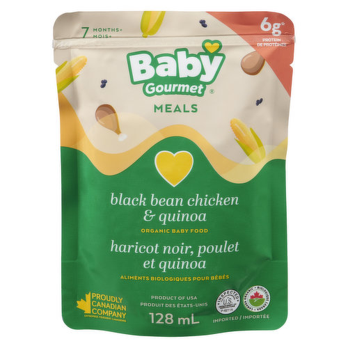 Baby will Love this Protein-Rich Chicken and Black Bean Dish that Combines the Sweetness of Corn with Quinoa and a Hint of Cilantro. Gluten, Dairy Free. No Artificial Ingredients or Fillers. Vitamin C