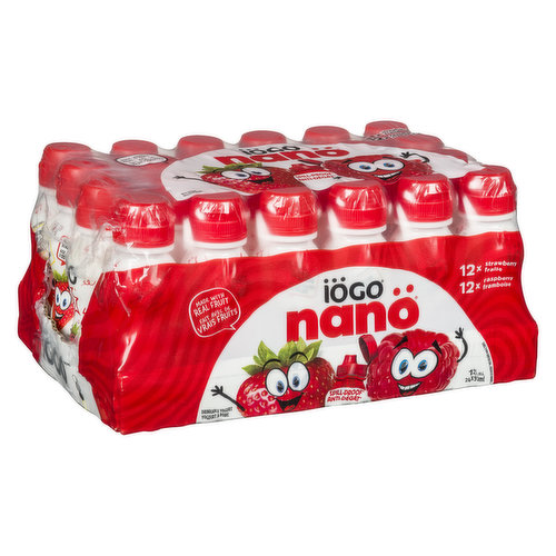 12x90ml Strawberry, 12x90ml Raspberry. Made with Real Fruit.