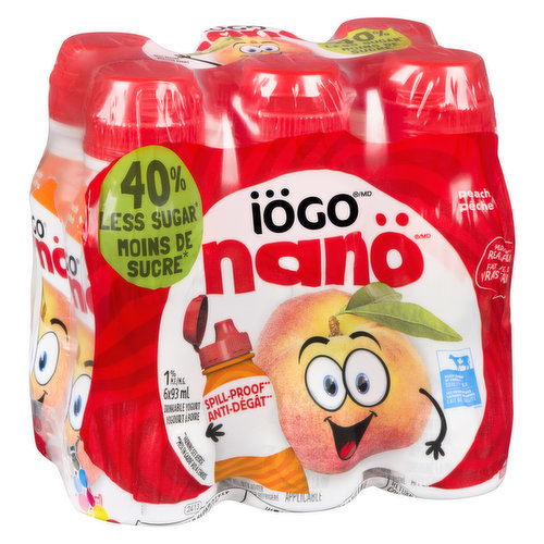 1.% M.F. drinkable yogurt made with real fruits and vitamin D fortified milk. No artificial colours, flavours, gelatin, or preservatives. Features spill-proof caps. 6x93ml.