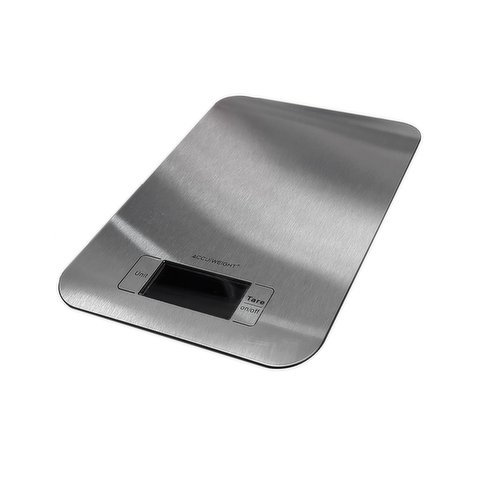 Features an ultra slim design. Add & weight feature. Manual & auto shut-off. Weighs in lbs, oz, & grams. Stainless steel.