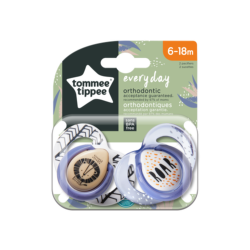 All every day orthodontic Tommee Tippee pacifiers use the same nipple to ensure easy transition between pacifiers. Perfect for everyday use.
