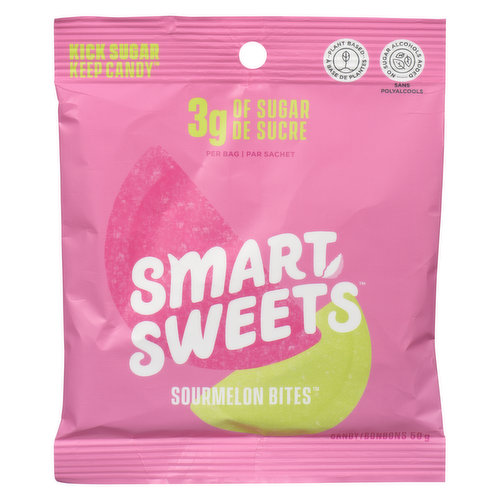 Smart Sweets are juicy, delicious plant based bites. 3 grams of sugar per bag. Naturally sweetened with high quality monk fruit and allulose. Free from sugar alcohols, artificial sweeteners and added sugar. No tree nuts, peanuts, soybeans, milk, eggs and