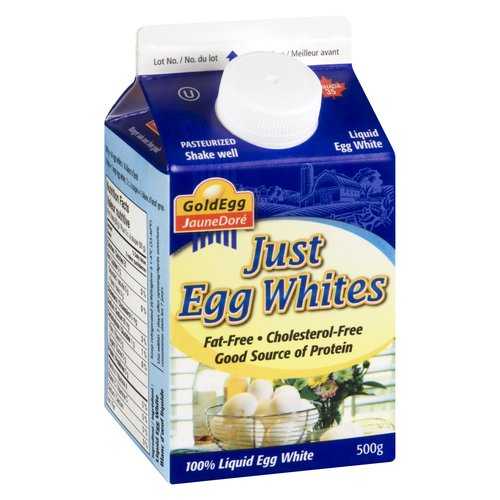 Pasteurized. Fat Free, Cholesterol Free. Good Source of Protein. 100% Liquid Egg White.