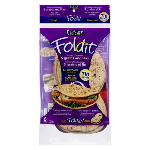 For Max Taste Just Fold it! Very High Source of Fiber. Source of Omega-3 Polyunsaturated Fatty Acids. Make Sandwich and Grill it! 110 Calories per Flat Bread.