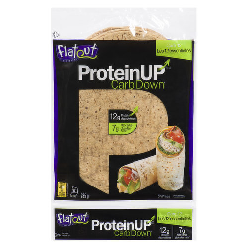Flatout protein up - core 12 has 12g of protein per flatbread and 8g net carbs per flatbread. These healthy flatbread are made from chickpea and navy bean flour. Kosher.