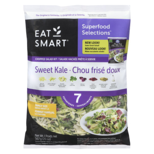 Family Size. Contains 7 superfoods: broccoli, cabbage, brussel sprouts, kale, chicory, dried cranberries, roasted pumpkin seeds. Includes: Poppyseed dressing.