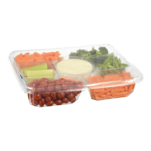 54 oz (1.53kg) Tray. 12 oz Dip. An All Occasion Vegetable Platter Featuring a Wide Variety of Mann's Fresh Cut Vegetables, Washed and Ready to Serve. Product Mix May Vary in Size.