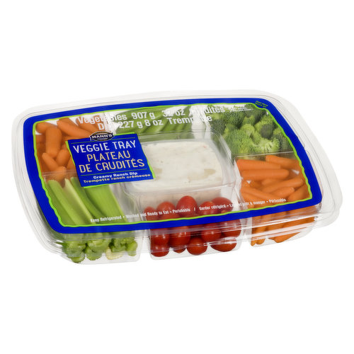 Variety of Fresh Cut Vegetable with Ranch Dip. Vegetables 907g + 227g container of Dip = 1134G/2.5lbs
