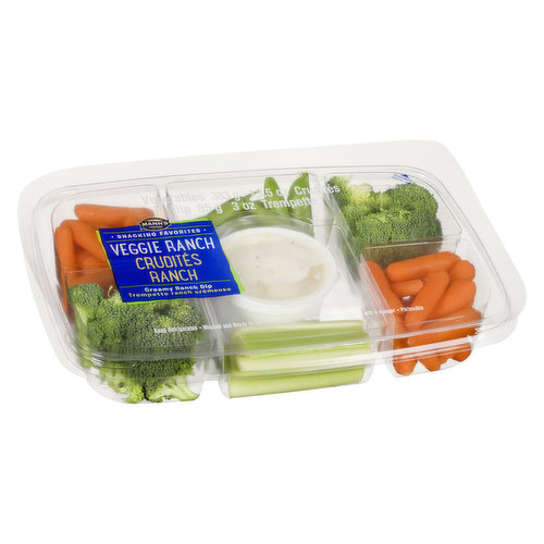 Veggie ranch tray includes carrots, celery, and broccoli served with ranch dip. 85g of Dip + 383g Tray of Veggies = 468g.