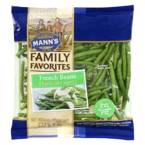 French green beans are slightly thinner than green beans, are cut, washed and ready to eat. Steam in Bag. They are sweet, tender and crisp. A great addition to your dinner.
