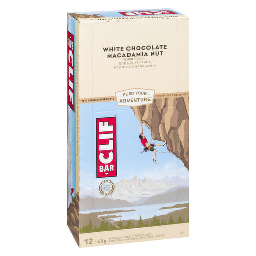 This energy bar is built to sustain your adventure. Roasted macadamia nuts meet creamy, scrumptious white chocolate flavour. 12x68g bars.