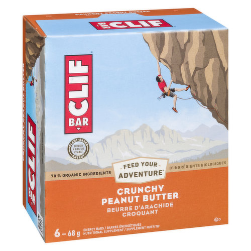 70% Organic Ingredients. Smooth, organic peanut butter mixed with crunchy peanut pieces. Performance nutrition. And great taste. This energy bar is built to sustain your adventure. 6X68g bars.